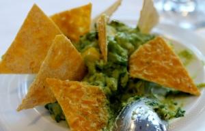 Raw Guacamole and Corn Tortilla Chips